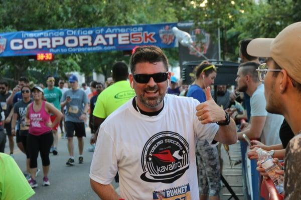 John Mahony finishing a team 5K