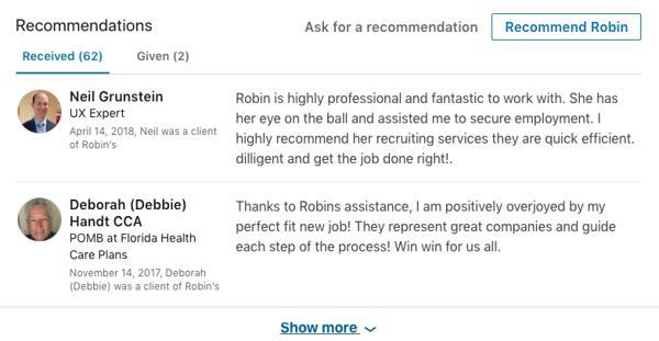 Robin Kalinowski's recommendation section.